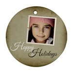 Christmas Happy Holidays Ornament Clear - Ornament (Round)