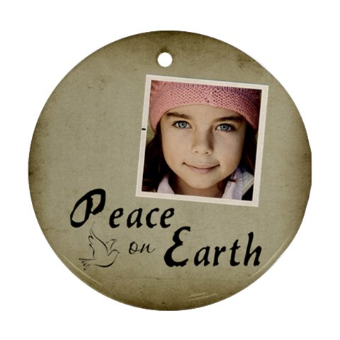 Christmas Peace Earth Ornament Clear By Jorge   Ornament (round)   Xso6etuzci64   Www Artscow Com Front