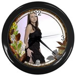 Harvest Leaves Wall Clock - Wall Clock (Black)