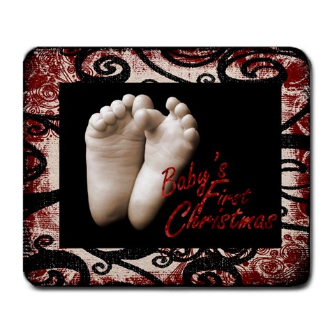 Baby s First Christmas Mousemat 1 By Catvinnat   Large Mousepad   W8k1ijhxwtt7   Www Artscow Com Front