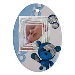 Baby Boy   Ornament By Carmensita   Oval Ornament (two Sides)   H4nshh9jfxrn   Www Artscow Com Front