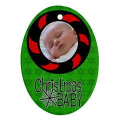 Baby Christmas   Ornament By Carmensita   Oval Ornament (two Sides)   4rteik91ec73   Www Artscow Com Front