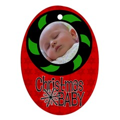 Baby Christmas   Ornament By Carmensita   Oval Ornament (two Sides)   O5qq0q79vmgi   Www Artscow Com Front