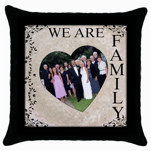 We Are Family Throw Cushion By Lil    Throw Pillow Case (black)   Ee1r5b8zh0kq   Www Artscow Com Front