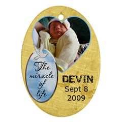 Miracle Of Life Ornament By Lil    Oval Ornament (two Sides)   5zvxynnlbied   Www Artscow Com Front