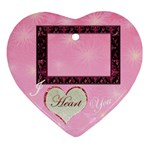 i heart you pink10  Ornament - Ornament (Heart)