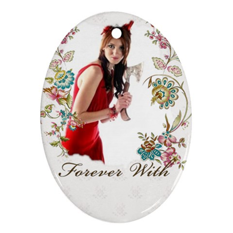 Love Forever By Wood Johnson   Ornament (oval)   7svu2n7s8k29   Www Artscow Com Front