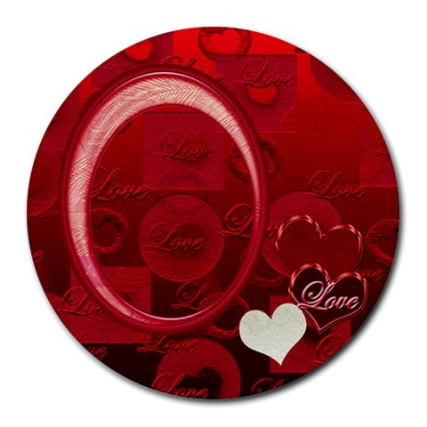 I Heart You Love Round Mousepad By Ellan   Round Mousepad   Fimifxz1dicq   Www Artscow Com Front