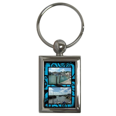 Fantasia Blue Padstowe Twin Frame Keyring By Catvinnat   Key Chain (rectangle)   Pwkvf5yc92pa   Www Artscow Com Front