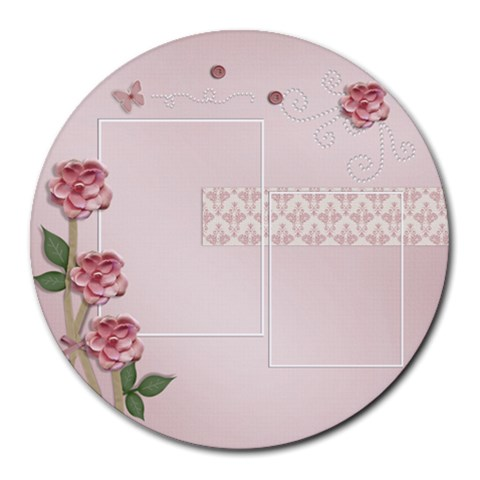 Round Mousepad  Template  Flowers By Jennyl   Round Mousepad   Mbq2hwi2yxtt   Www Artscow Com Front