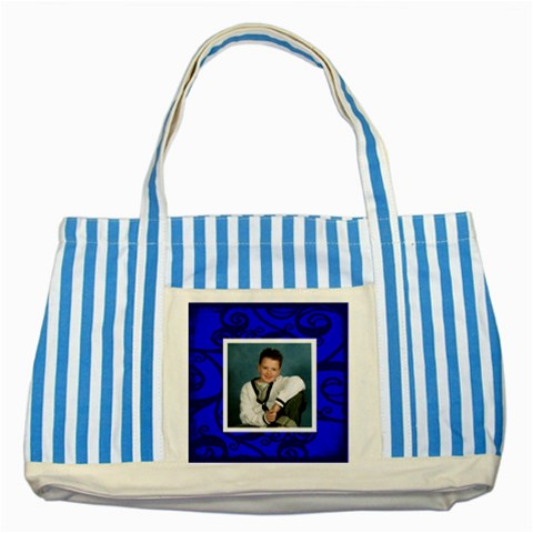 Fantasia Blues Two s Tote Bag By Catvinnat   Striped Blue Tote Bag   4odritgnqabz   Www Artscow Com Front