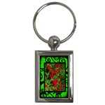 Fantasia classic green poppies frame keyring - Key Chain (Rectangle)