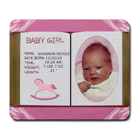 Newborn Baby Girl Mousepad By Lil    Large Mousepad   Qbghuer2x2ef   Www Artscow Com Front