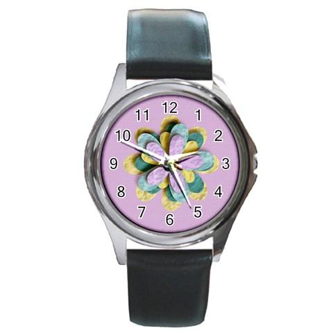 Round Metal Watch   Template  Flower By Jennyl   Round Metal Watch   69tjo8sldnxz   Www Artscow Com Front
