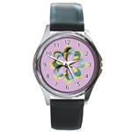 Round Metal Watch - template- flower