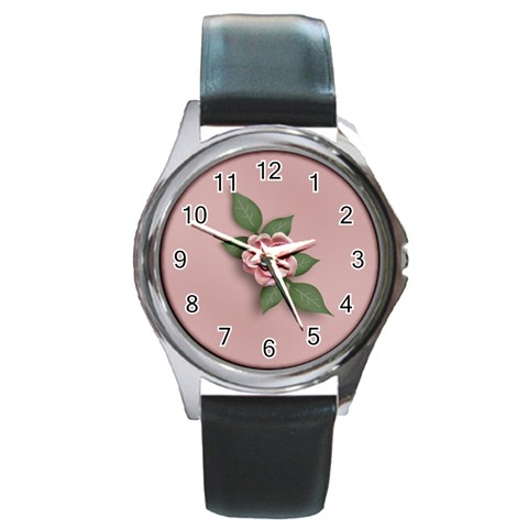 Round Metal Watch   Template  Flower2 By Jennyl   Round Metal Watch   Hgojz8avr90s   Www Artscow Com Front