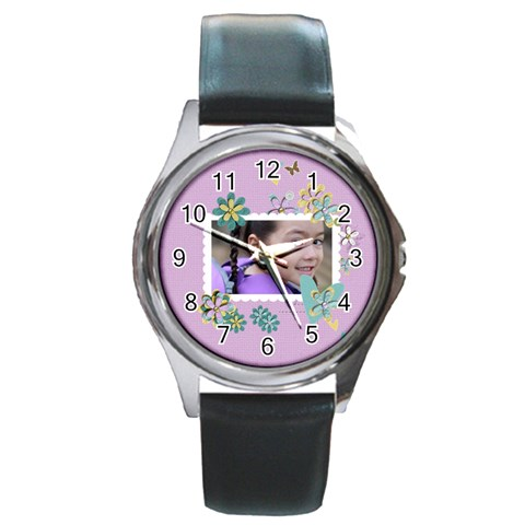 Round Metal Watch   Template  Flower3 By Jennyl   Round Metal Watch   3oy3akk84xxe   Www Artscow Com Front