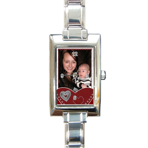 Love And Hearts Charm Watch By Lil    Rectangle Italian Charm Watch   Ojkou34y0iqd   Www Artscow Com Front