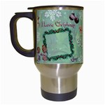 Old Fashioned Christmas Mug angels Remember When green star - Travel Mug (White)