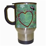 Old Fashioned Christmas Mug angels Remember When heart star snowflakes - Travel Mug (White)