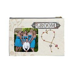 Bride/groom Large Cosmetic Bag By Lil    Cosmetic Bag (large)   Qot742hada87   Www Artscow Com Back