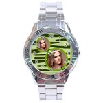 stainless analogue green twin frame camo watch - Stainless Steel Analogue Watch