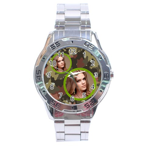 Stainless Analogue Army Fatigue Twin Frame Camo Watch By Catvinnat   Stainless Steel Analogue Watch   I76rx28r8hrb   Www Artscow Com Front
