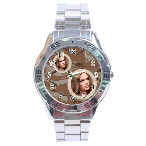 Stainless Analogue Army Fatigue 2 Twin Frame  Desert Camo Watch By Catvinnat   Stainless Steel Analogue Watch   2ztrxq2hiqe9   Www Artscow Com Front