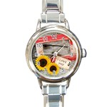 cowboy´s party watch 01 - Round Italian Charm Watch