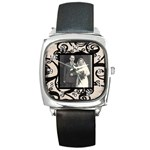 Fantasic classic black strap wedding watch - Square Metal Watch