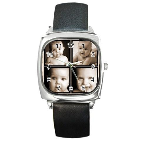 Fantasia Grandchildren 4 Frame Black Strap  Watch  By Catvinnat   Square Metal Watch   Qh9hfxpyyzty   Www Artscow Com Front