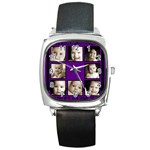 Fantasia funky purple  multi picture black strap  watch  - Square Metal Watch