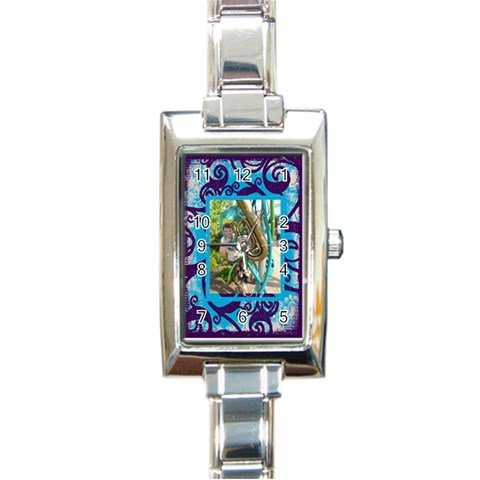 Fantasia Funky Turquoise  Rectangle Charm Watch By Catvinnat   Rectangle Italian Charm Watch   4prsdzleokik   Www Artscow Com Front