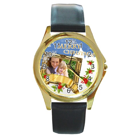 Xmas By Joely   Round Gold Metal Watch   Kz0y5fn2aiio   Www Artscow Com Front