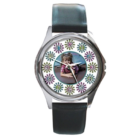 Flower Round Watch With Photo By Amanda Bunn   Round Metal Watch   4pvu60rp5r3d   Www Artscow Com Front