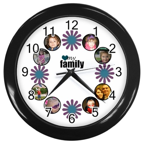 Family Flower Clock By Amanda Bunn   Wall Clock (black)   Fk4hxbyf4yyy   Www Artscow Com Front