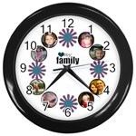 Family Flower clock - Wall Clock (Black)
