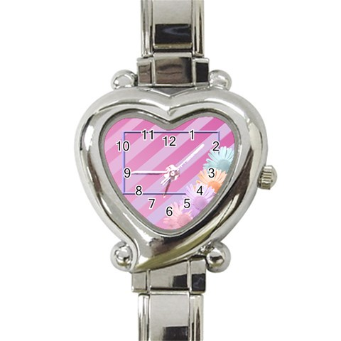 Flowers Heart Watch By Add In Goodness And Kindness   Heart Italian Charm Watch   Jlkjv6bgqkdq   Www Artscow Com Front