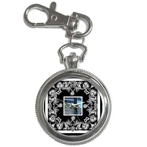 Art Nouveau Black & White Keychain Watch By Catvinnat   Key Chain Watch   Q7e4txrdhp8t   Www Artscow Com Front