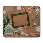 Merry Christmas gold village remember when large mousepad