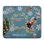 Merry Christmas lantern girl blue snowflake remember when large mousepad
