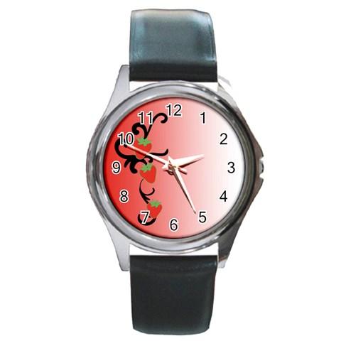 Strawberry   Watch By Carmensita   Round Metal Watch   6yy1p47h7jsw   Www Artscow Com Front