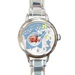 Baby blue - Watch - Round Italian Charm Watch
