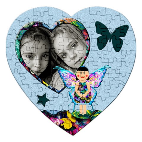 Fairy Tales Blue   Puzzle By Carmensita   Jigsaw Puzzle (heart)   Qbqxvgzfpkio   Www Artscow Com Front