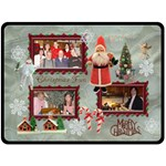 Vintage Christmas santa old fashioned fleece blanket white - Fleece Blanket (Large)