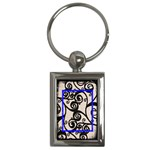 Fantasia classic blue frame keyring - Key Chain (Rectangle)