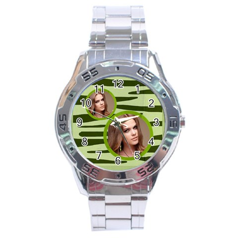 Stainless Analogue Green A1 Twin Frame Camo Watch By Catvinnat   Stainless Steel Analogue Watch   Hsp8fmrv4fu1   Www Artscow Com Front
