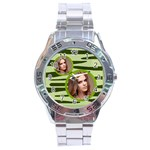 stainless analogue green a1 twin frame camo watch - Stainless Steel Analogue Watch
