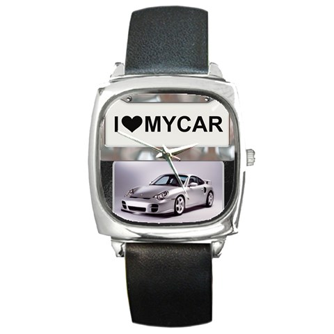 I Love My Car Square Metal Watch By Lil    Square Metal Watch   6ym4cbcajtnz   Www Artscow Com Front