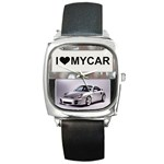 I Love My Car Square Metal Watch